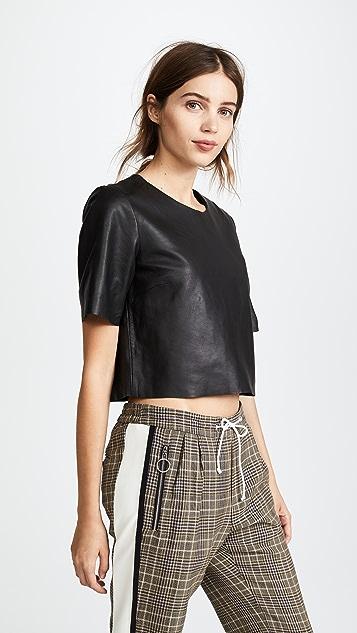 VEDA Leather Crop Tee