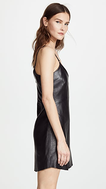 VEDA Leather Slip Dress
