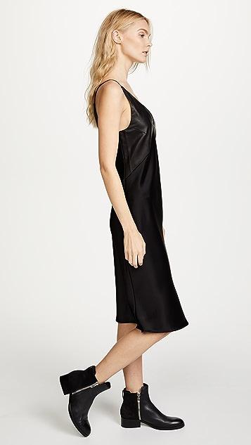 VEDA Платье Pavillion из кожи и атласа