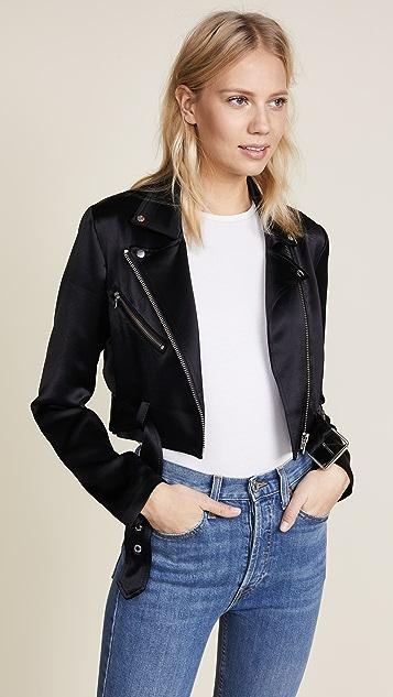 VEDA Sax Satin Moto Jacket
