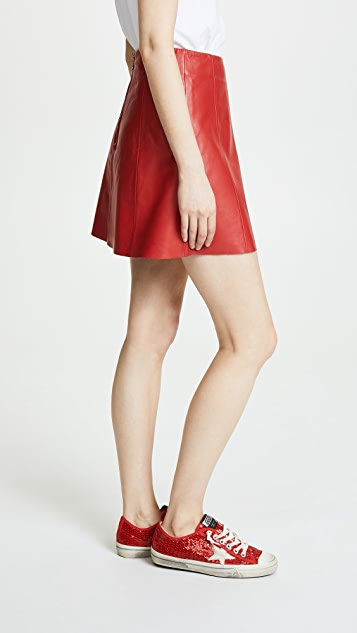 VEDA Leather Circle Mini Skirt