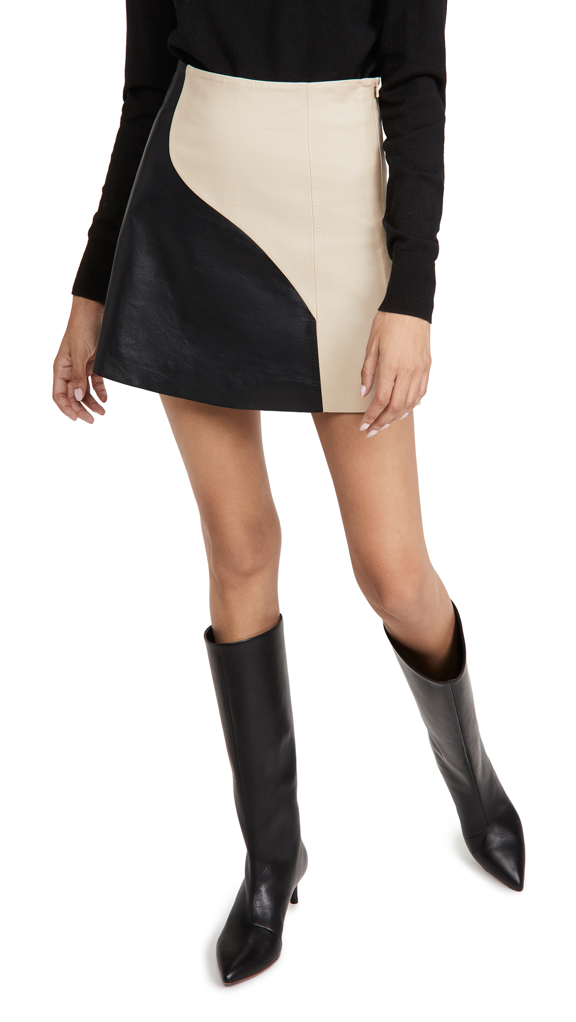 VEDA Wavy Circle Leather Skirt