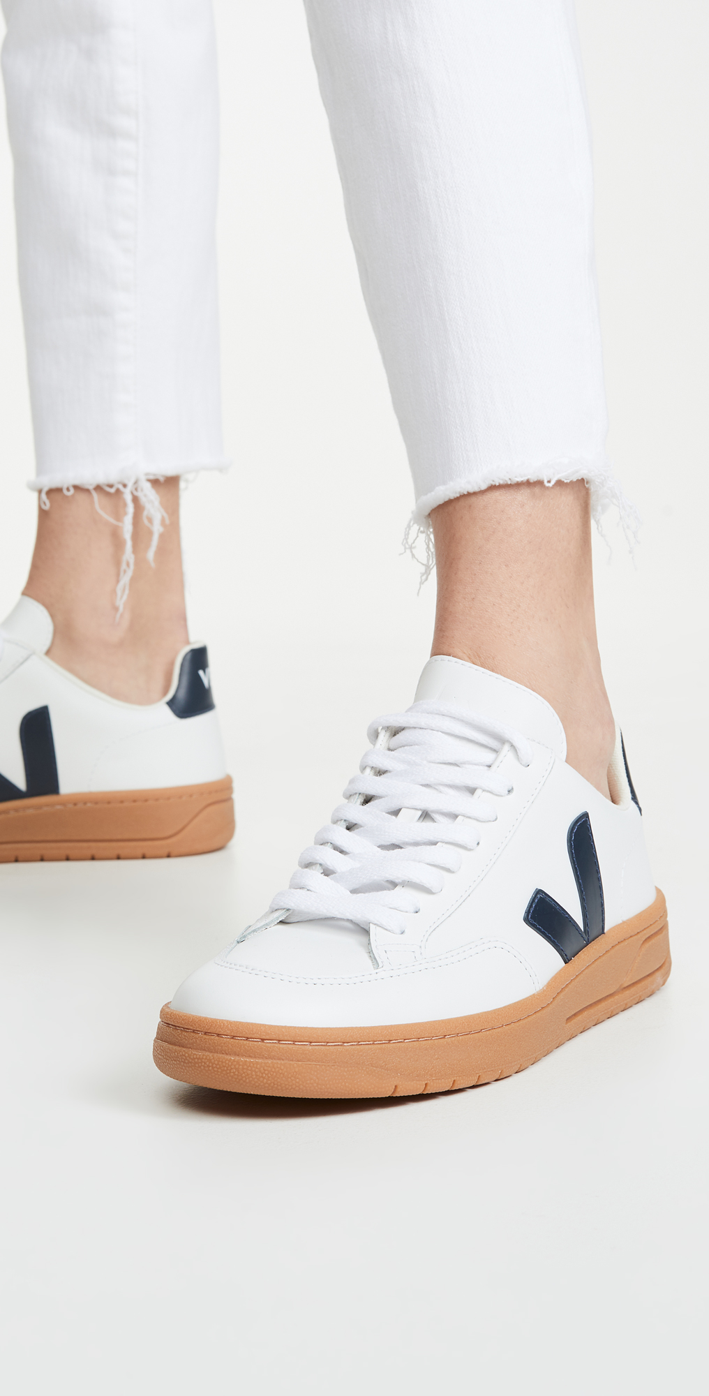 white sneakers gum sole