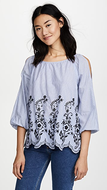 Velvet Reagan Embroidered Stripe Top