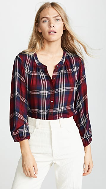 Velvet Fern Plaid Blouse