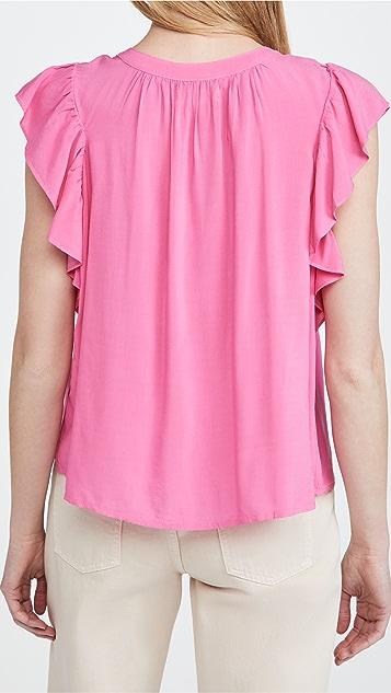 天鹅绒 荷叶袖女式衬衫