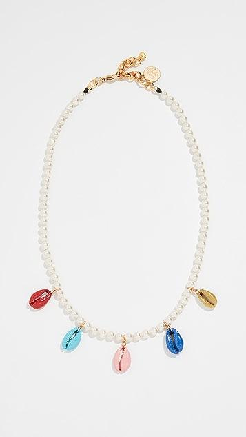 Venessa Arizaga Колье с жемчугом, кристаллами Сваровски и разноцветными ракушками