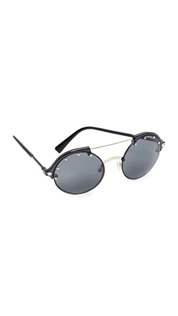 Versace Studded Brow Bar Sunglasses