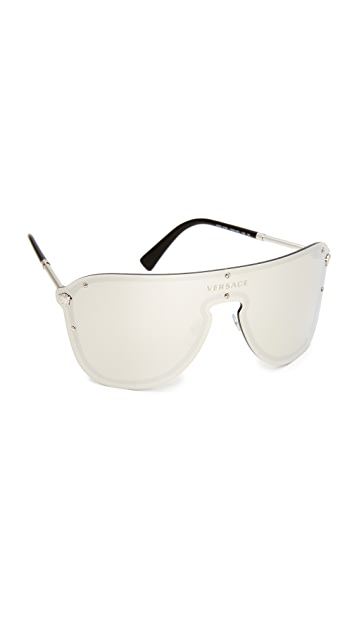 ae61cca1761 Versace Mirrored Shield Sunglasses