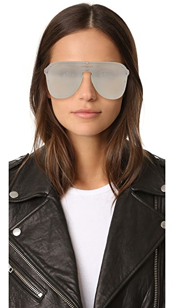 Versace Mirrored Shield Sunglasses