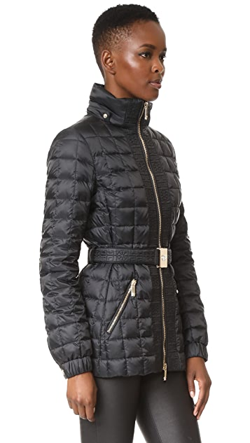 Versace Puffer Jacket with Belt and Fox Fur Trim
