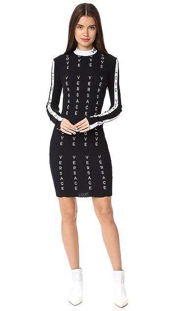 Versace Миди-платье в полоску