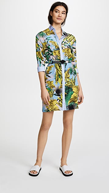 Versace Floral Printed Shirtdress - Celeste Multi