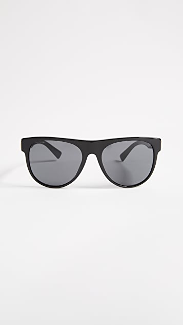 Versace Rock Icon Flat Lens Sunglasses - Black/Grey