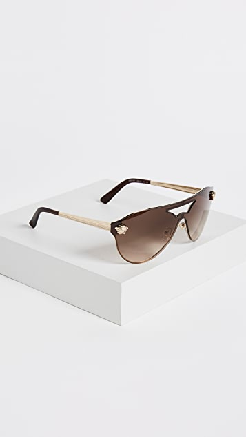 Versace Medusa Aviator Shield Sunglasses