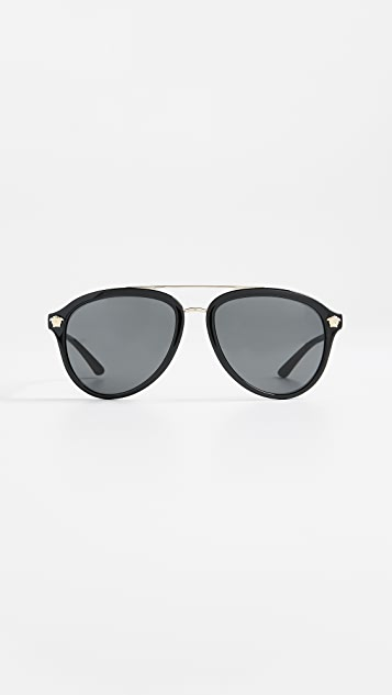 Versace Aviator Sunglasses - Black/Grey