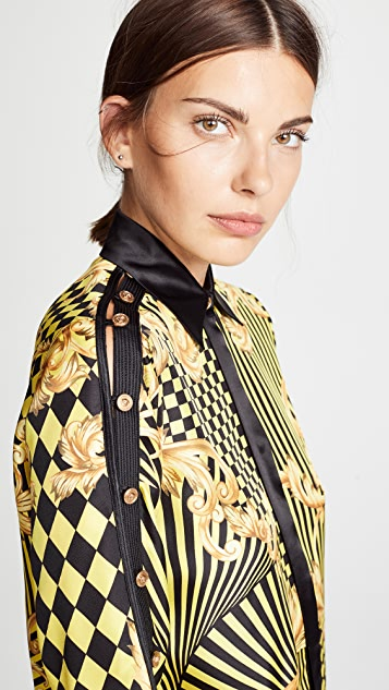 Versace Print Button Shoulder Blouse