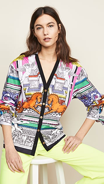Versace Temple Print Shirt with Ties