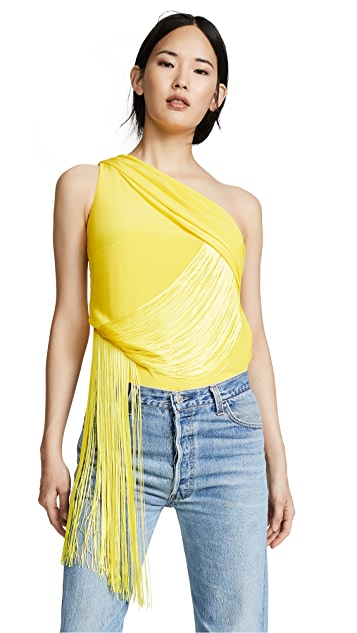 Versace Woven Blouse with Fringe