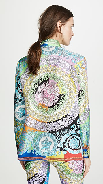 Versace Graphic Print Button Down Top
