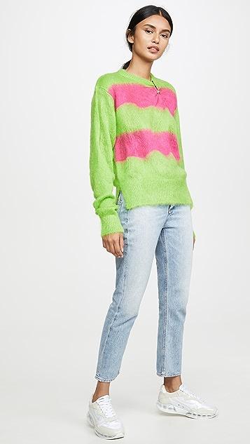 Versace Fuzzy Neon Mohair Sweater