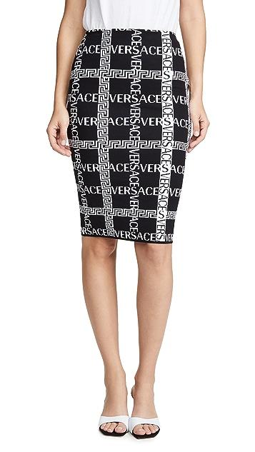 Versace Logo Plaid Pencil Skirt