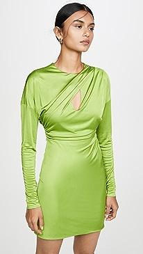 Draped Long Sleeve Mini Dress