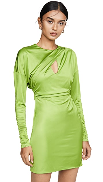 Versace Draped Long Sleeve Mini Dress