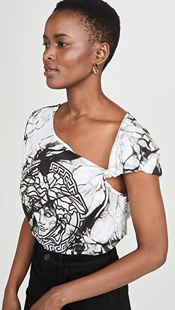 Versace Tie Dye One Shoulder Tee