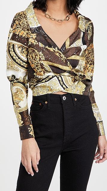 Versace 巴洛克拼接真丝女式衬衫
