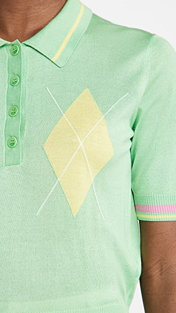 Versace 菱形花纹短袖上衣