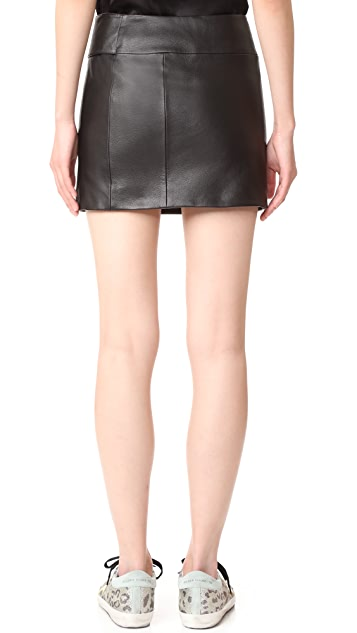 Versus Belted Leather Skirt
