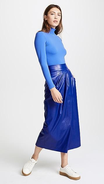 Vika Gazinskaya Faux Leather Pleated Long Skirt