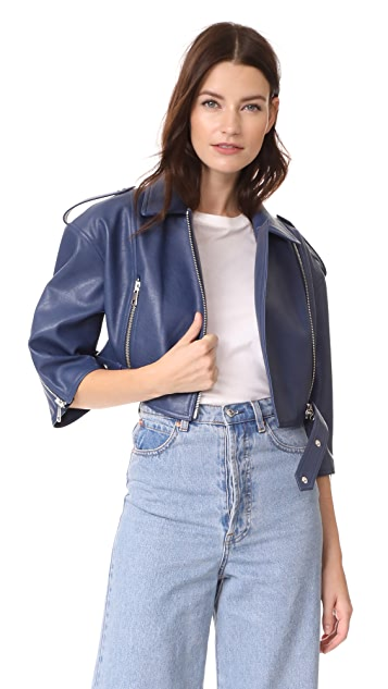 Vika Gazinskaya Faux Leather Cropped Biker Jacket