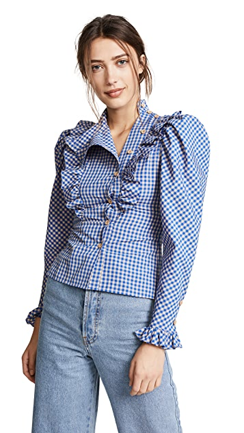 Vika Gazinskaya Checkered Print Ruffle Blouse