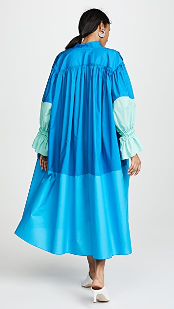 Vika Gazinskaya Relaxed Fit Maxi Dress with Pleated Sleeves