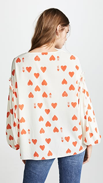Vika Gazinskaya Heart Print Blouse