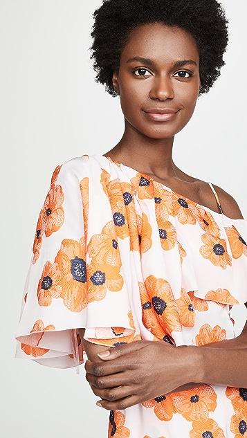 Vika Gazinskaya One Shoulder Floral Dress