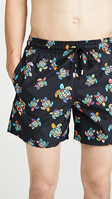 Vilebrequin Over The Rainbow Moorea Turtles Swim Trunks