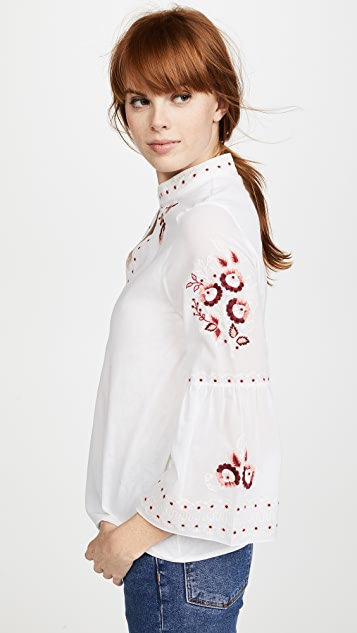 Vilshenko Niamh Ombre Flower Bell Sleeve Top
