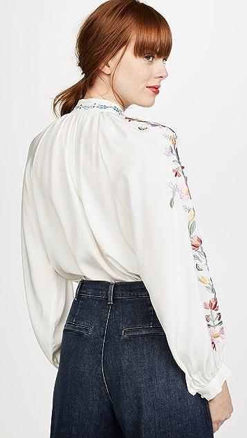 Vilshenko Faye Embroidered Silk Blouse