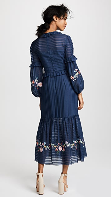 Vilshenko Adeline Embroidered Ruffle Midi Dress