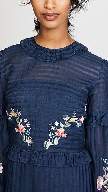Vilshenko Adeline Embroidered Ruffle Midi Dress