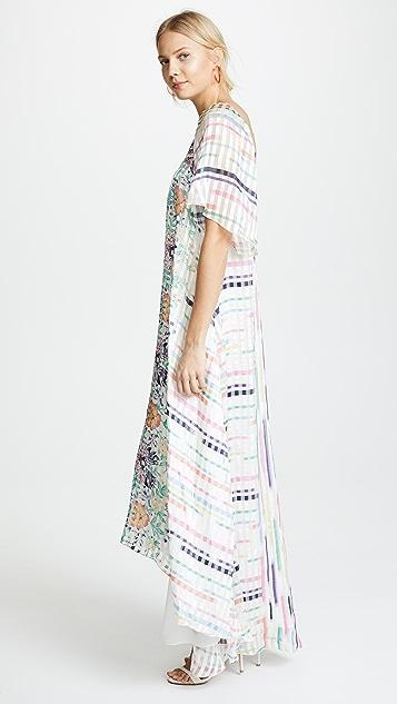 Vilshenko Yasmin Stripe Floral Silk Dress