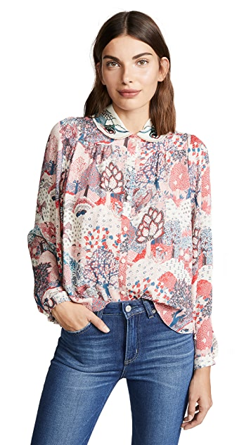 Vilshenko Anya Batwing Blouse with Embroidered Collar