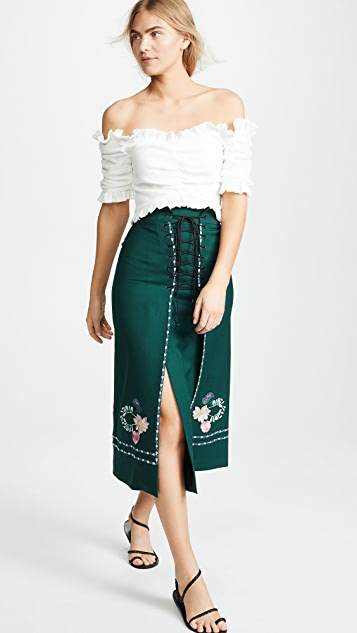 Vilshenko Ginny Embroidered Lace Up Skirt