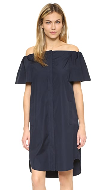 Vince Off Shoulder Shirtdress
