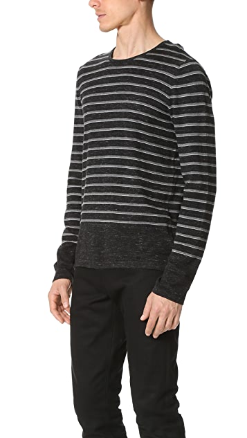 Vince Sporty Jaspe Striped Crew Neck Sweater