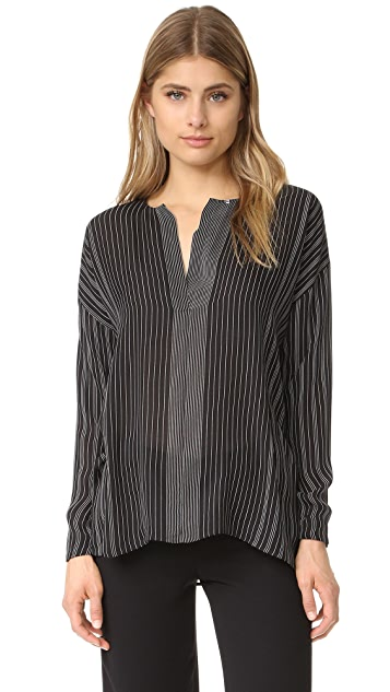 Vince Striped Covered Placket Blouse