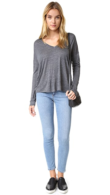 Vince Drop Sleeve Deep Vee Tee